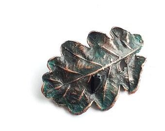 ATMA * Of Earth Of Sun Unique Oak Leaf Copper Amulet. Of Sea