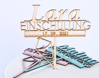 Cake Topper with Personalized Name and Date, Cake Decoration Enrollment, Schoolchild, Back to School, Gift, Enrollment, Cake Topper