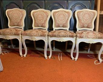 Four Desigen Antique Wood Solid Chair 1940 Original Baroque Rococo 90x48x41 cm