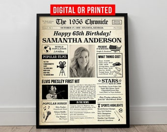 65th Birthday Gift for Women,Personalized Birthday Sign,Born in 1956 USA,Custom Birthday Poster Mom Wife Friend
