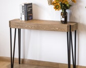 Console Table Brown Wood Top Black Metal Frame Hallway Entryway Desk Furniture Sideboard Buffet Table
