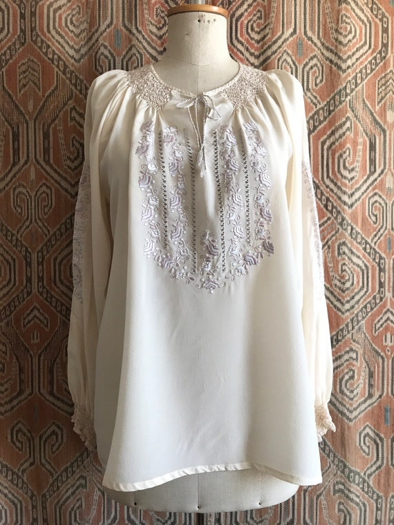Vintage 1930s style Silk Embroidered Hungarian Pe… - image 3