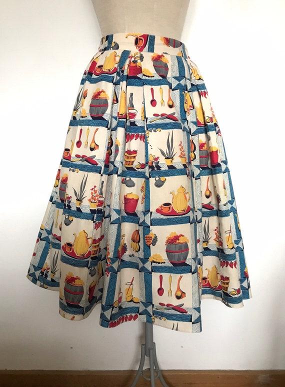 Vintage 1950s Novelty Print Skirt  / 50s Kitchen P