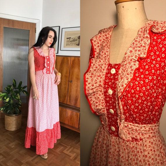 Vintage 1970s Seersucker Maxi Dress Red White Flor
