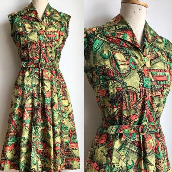 Chic Vintage 1960s Linen Novelty Colonial Print Dress /& Jacket Set M