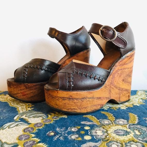 Vintage 1970s Platform Wedges / 70s Wooden Shoes /