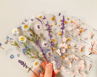 Clear Flowers Sticker Sheet, Die-Cut Floral Themed Stickers