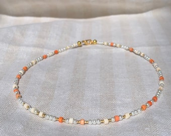 Pearl, orange and gold beaded necklace handmade with love
