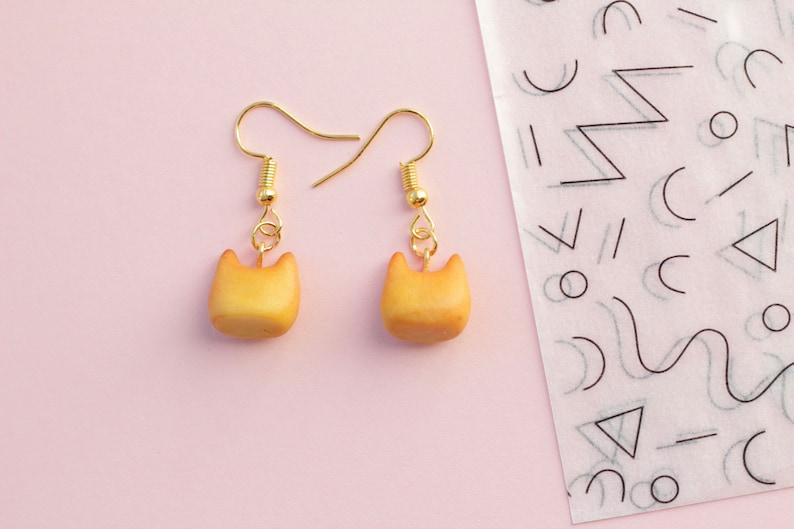Super cute handmade to order valentine bread cat heart cheeks gold drop earrings