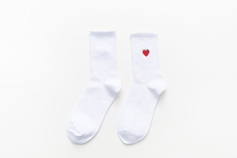 Different Colors Colorful Valentine Day Embroider Sock HEART