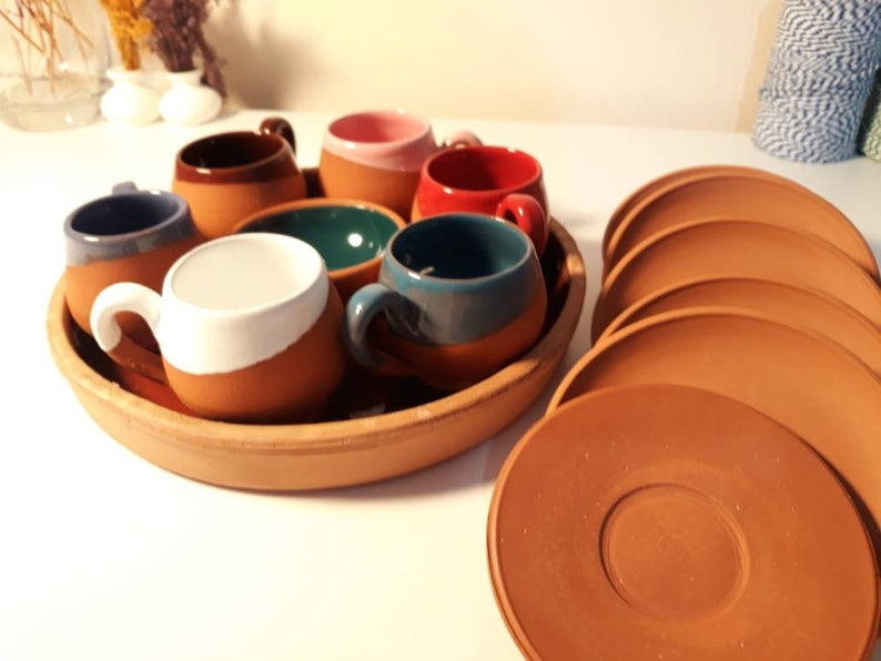 Handmade Ceramic 14 Pieces Turkish Coffee Cup Set Traditional Kitchen Clay Cup Italian Expresso Mug Set