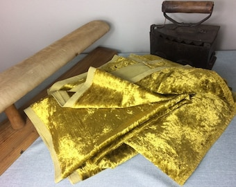 Vintage Cotton Velvet Curtain Drape 220 x 125 cm   Mustard Olive Green Gold