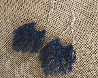 Navy Teardrop Macrame Earrings