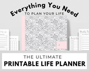 Printable Life Planner (204 Pages) ~ Floral Design ~ Daily, Weekly, Monthly, Yearly Planning, Goals, Mindset, Spirituality, Wellness & More