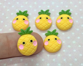 12 Resin Cabochons Pineapple Tropical Fruit Flat Back Cabochons Charms DIY Craft Decoration Accessory Cabs Cameo Jewelry Making 29x13mm