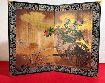 Byobu, Beautiful Japanese Folding Screen, Byobu Art, Masterpiece, Cart With Flowers, decor for living room