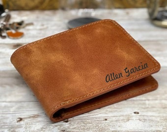 Leather Wallet Customize As You Wish Message Text Initials Hand Writing Monograms Team College Car or Company Logos and Special Gift Package