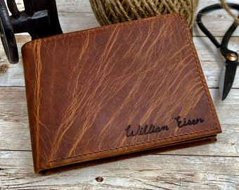 Anniversary Gift for Him,Personalized Wallet,Mens Wallet,Engraved Wallet,Leather Wallet,Custom Wallet,Gift for Dad,Boyfriend Gift for Men