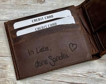Handwriting Wallet   Leather Wallet For Men   Personalized Wallet Gifts   Handwriting Gift For Him   Engraved Wallet   Gift For Boyfriend