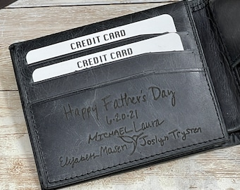 Fathers Day Gift for Dad,Personalized Wallet,Mens Wallet,Engraved Wallet,Leather Wallet,Custom Wallet,Gift for Men,Anniversary Gift for Him