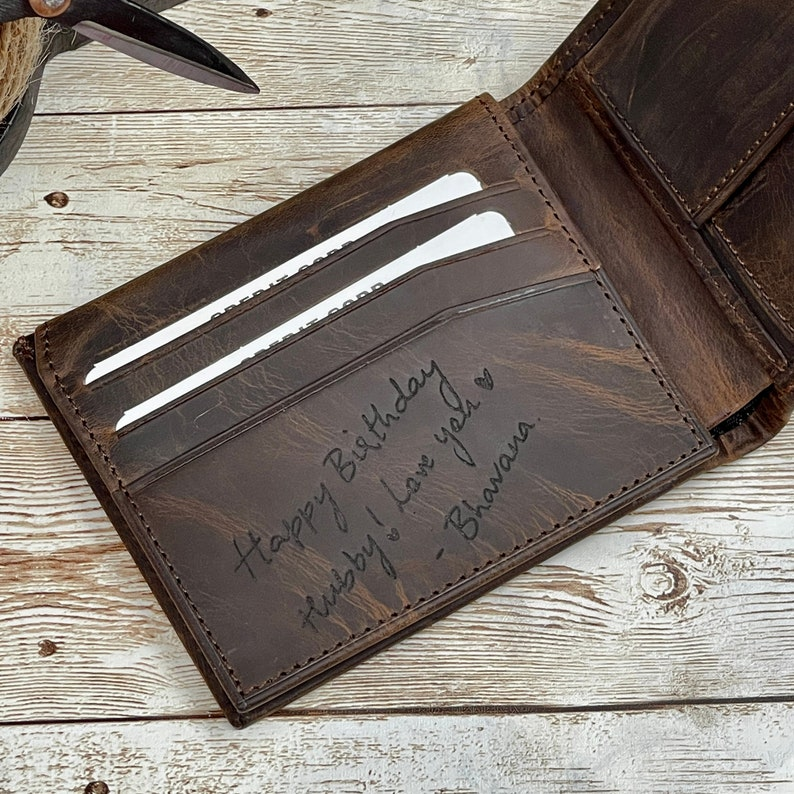 Handwriting Wallet  Leather Wallet For Men  Personalized image 0