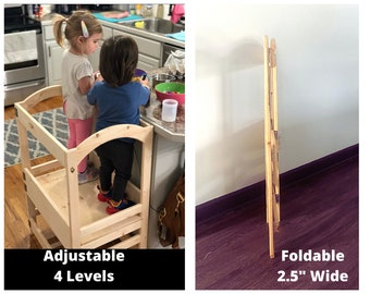 Foldable TWIN Kitchen Helper Two Kids, Double Kitchen Helper, Toddler Step Stool, Montessori Tower, Adjustable/Collapsible/Folding Tower