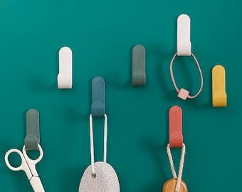 Adhesive Door Wall Hangers Self Hooks Strong Hook Towel Plastic Hanger Rack 4pcs