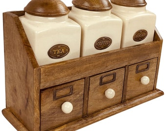 New Solid Embossed Geometric Tea Coffee Sugar Storage Jars//Canisters Wood Lids