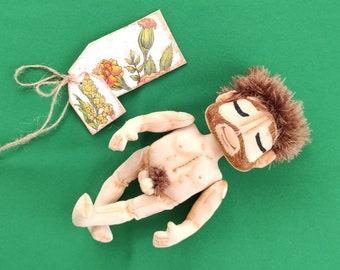 Funny Cupid doll. Rag man doll with beard. Valentine Cupid man doll.