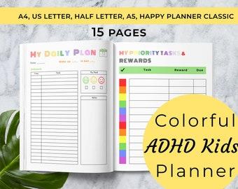 ADHD Planner for Kids |  Planner for Kids | Kids School Planner | ADHD planner, instant download