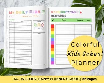 Kids School Planner, Homework Completion Checklist, Assignment Log, School Planner for Kids, Kids Daily Agenda, Academic Year 2021-2022