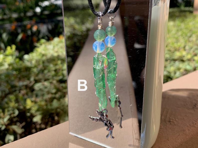 Green Titanium Quartz Wire Wrapped Adjustable Necklace