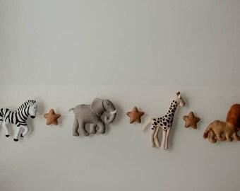 Felt safari animals wall garland, Garland, Safari garland, Nursery decor, Baby room decor, Jungle baby shower, Animals garland, Wall garland