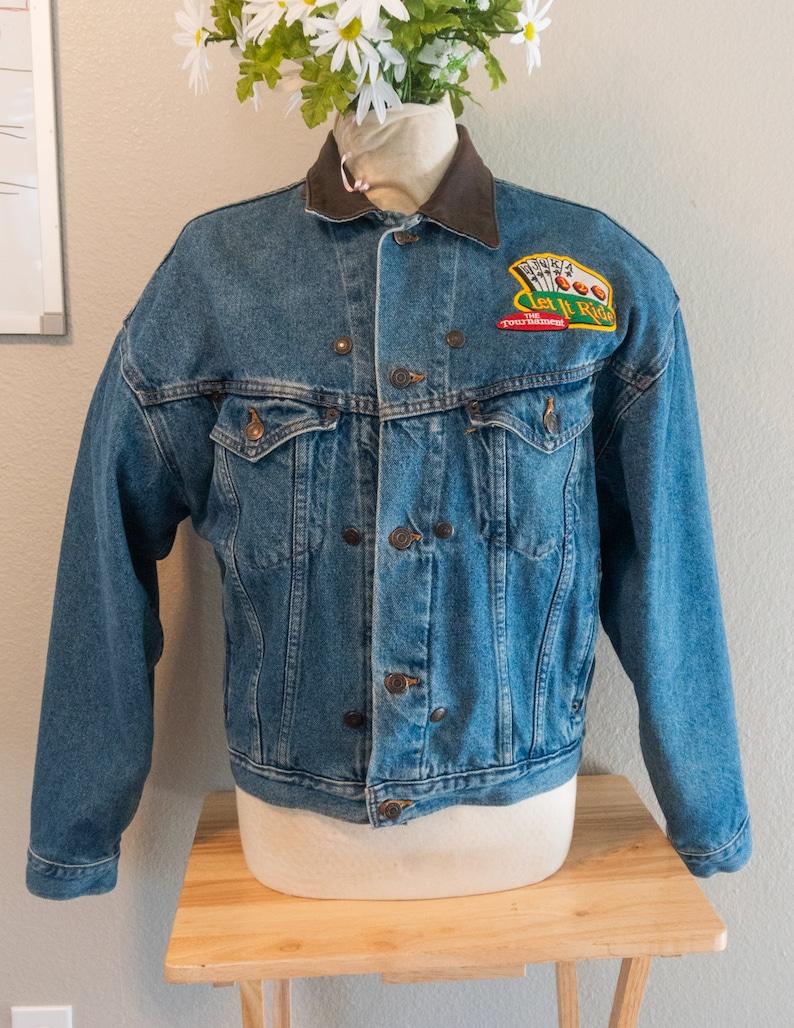 Size Medium M Jean Leather Collar Painted Denim Jacket Neon Pink Green Dealer/'s Choice Poker Art