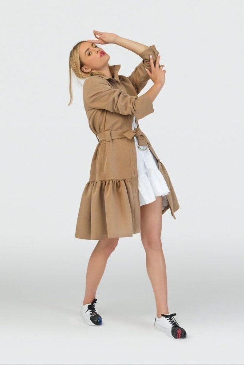 French Trench Unique Trench Coat Handmade Coat image 0