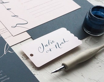 Blank Tags - Scallop - Choose from 4 sizes & 12 colours - Made for Calligraphy - Ideal for Weddings, Events, Invitations, Stationery
