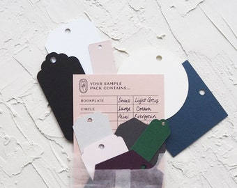 Sample Pack - Blank Tags - 12 shape, 12 colours & 4 sizes - Made for Calligraphy - Ideal for Weddings, Events, Invitations, Stationery