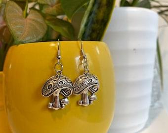 Silver Simple Mushroom Earrings