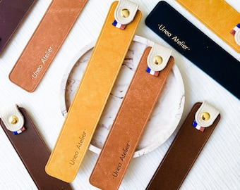 Customizable   leather bookmarks hot marking engraving with gilding