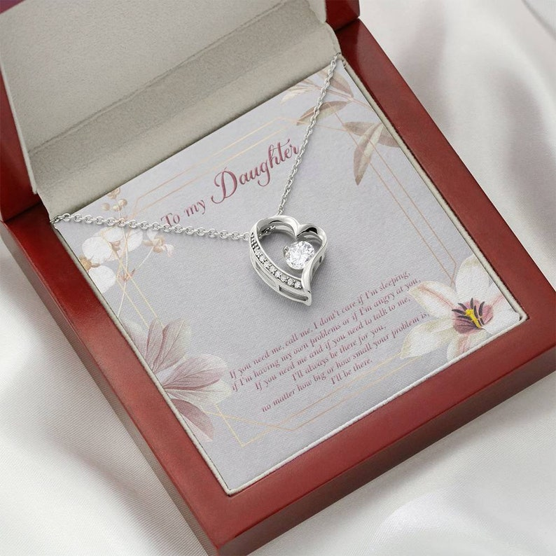 Birthday gift for daughter Emotional message card necklace for daughter from Mom and Dad