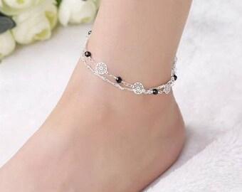 White Gold Plated,925 Sterling Silver,Anklet,Black beads Anklet,body Jewellery,White Gold Anklet,Shiny Anklet,2 Layers Anklet,ankle bracelet