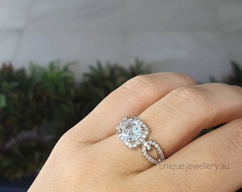 2Carat,18K White Gold plated on 925 Sterling Silver,Square Halo Solitaire,AAAAA CZ,Proposal Ring,Women Gift,Anniversary Gift,Engagement ring