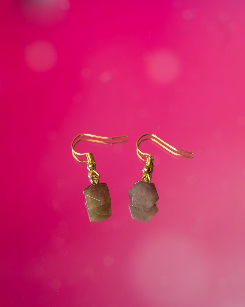 Amazonite Mothers Day Gift   Strawberry Quartz Ruby in Zoisite Mineral Natural Star Cut Natural Gemstone Hook Earrings
