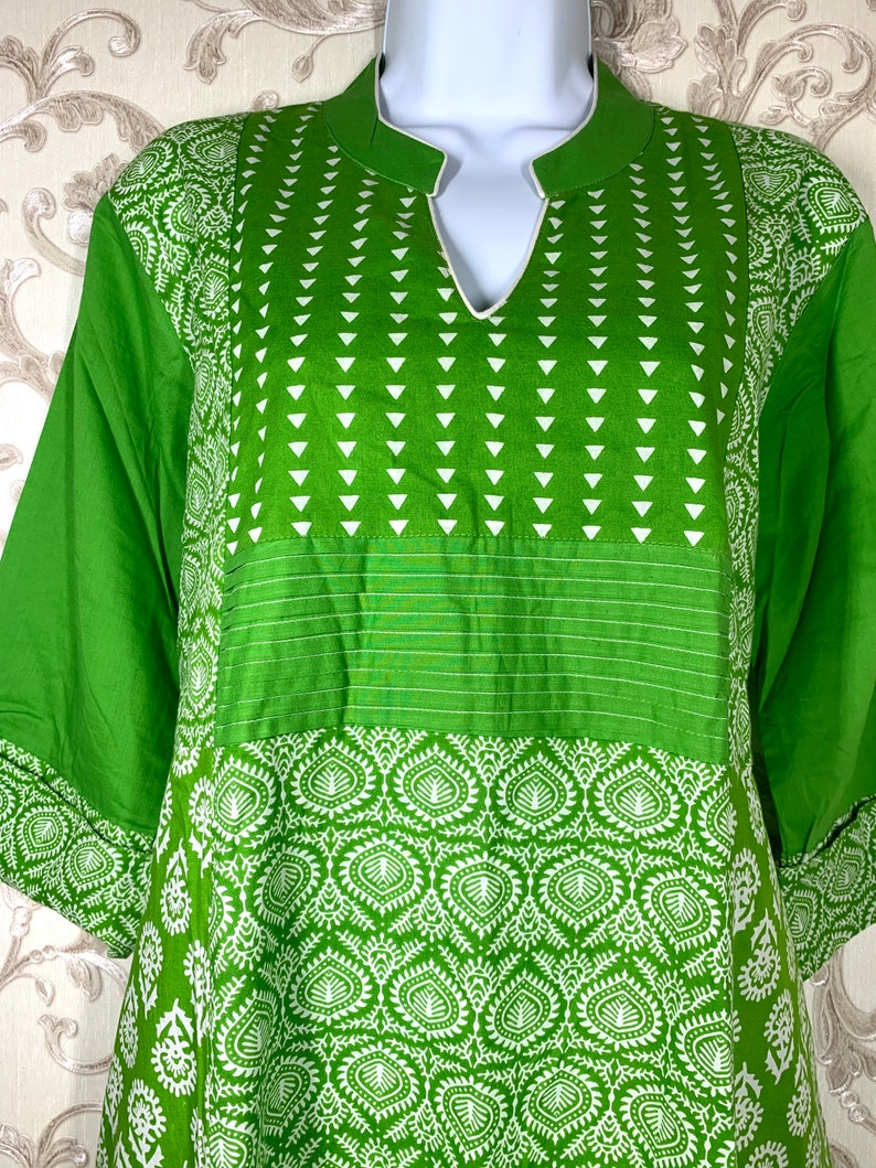 Bright green and white combination kurti with leggings