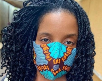 Adjustable African Print Masks for Adults and Kids 100% Cotton Reversible