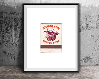 SILVER FOX Coffee Shop Art Print - Vintage Matchbook Print - Unframed Wall Art Print - Mature Man, Old Men, Funny Gift, Fathers Day Gift