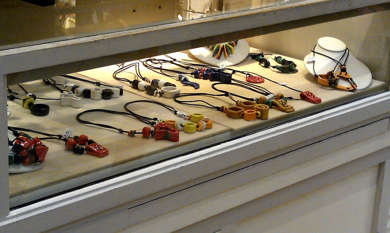 Adjustable length- Handmade ceramic jewelry collection design . Pendant necklace Ceramic necklace Star series Necklace