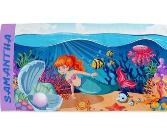 Personalized Kids Beach Towels Custom Kids Name Family Mermaid Summer Gift Bath 140 x 70 cm 55 x 28inch