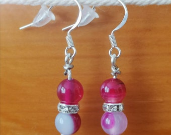 Gemstone Drop Earrings. Handcrafted with Red Striped Agate Beads / Sterling Silver Fish Hooks / Diamonte Spacers.