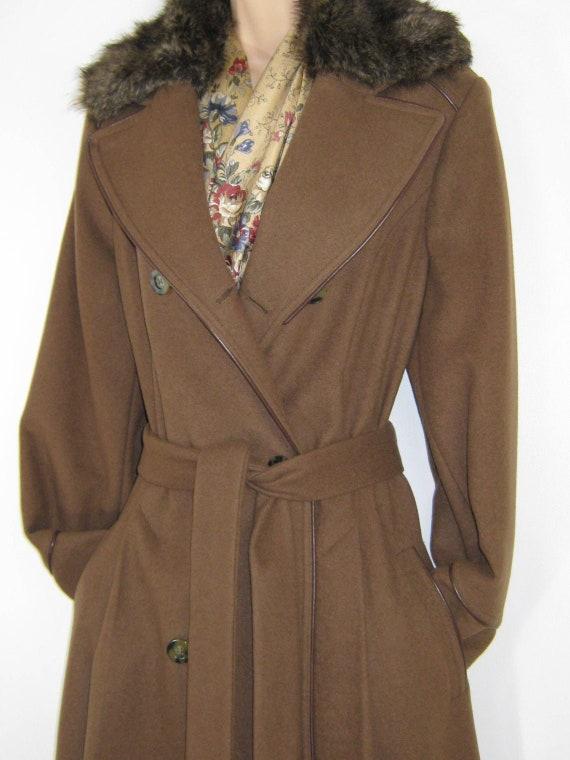 LAURA ASHLEY Vintage Wool Cashmere Blend Faux Fur